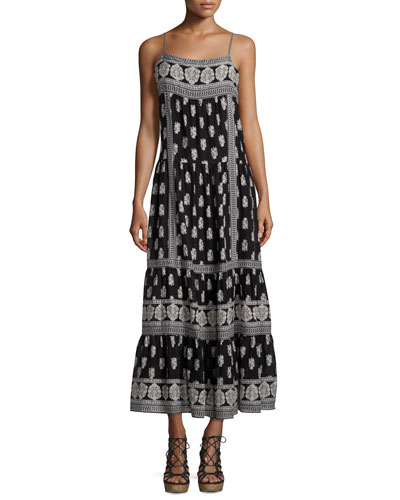Knightly Printed Cotton/Silk Maxi Dress
