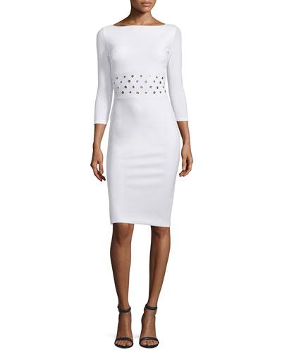 Cayley 3/4-Sleeve Grommet-Waist Dress