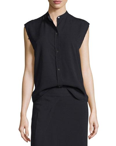 Sleeveless Back-Knot Poplin Shirt, Black