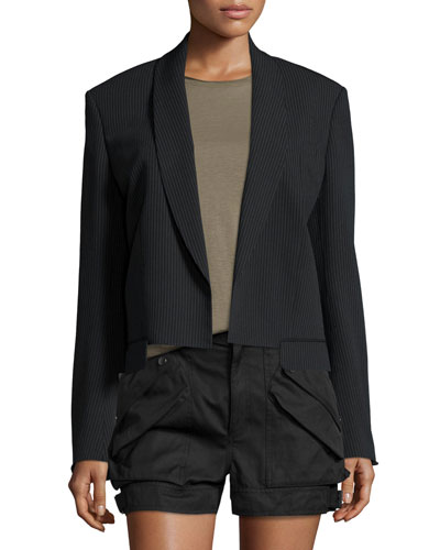 Ribbed Shawl-Collar Cropped Jacket, Black