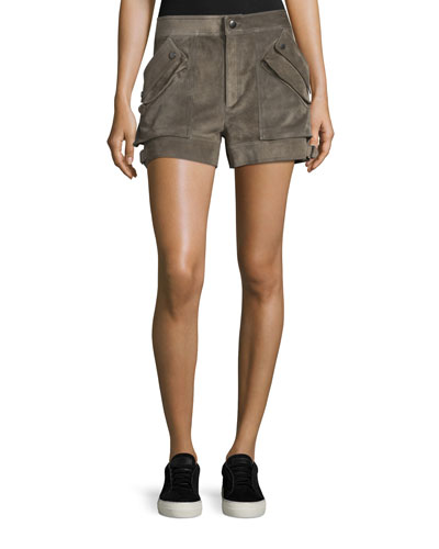Suede Buckled Mid-Rise Shorts, Mortar