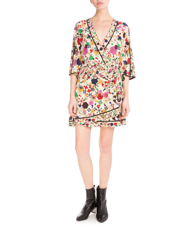 Medium Tanami Flower Silk Faux-Wrap Dress, White