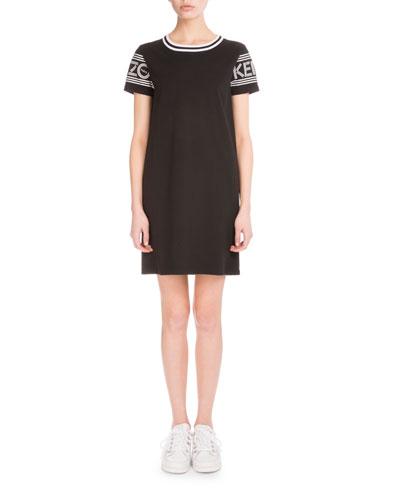 Logo-Sleeve Jersey Skate Dress, Black