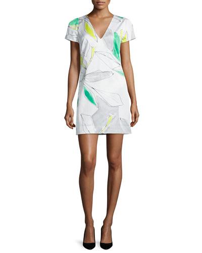 Chloe Short-Sleeve Floral-Print Dress, Green/Multi