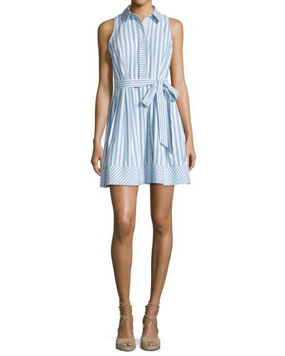 Breton Sleeveless Striped Shirtdress, Blue