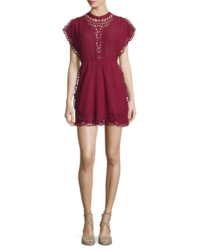 Caidy Laser-Cut Mini Dress, Wine