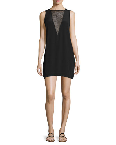 Maelie Sleeveless Lace-Trim Mini Dress, Black