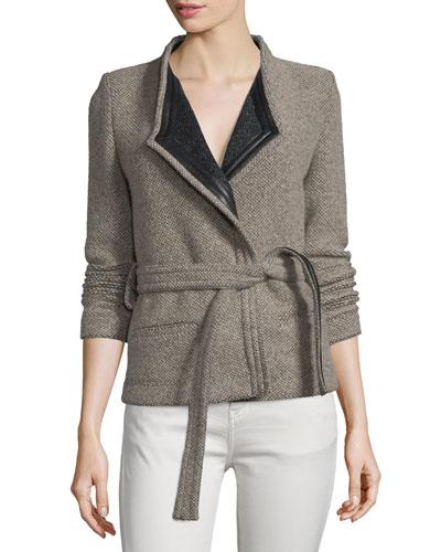Awa Belted Tweed Jacket, Beige/Black