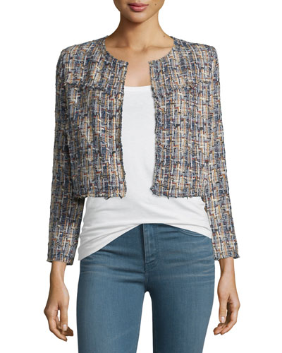 Hella Frayed-Trim Cropped Tweed Jacket, Blue/Multicolor