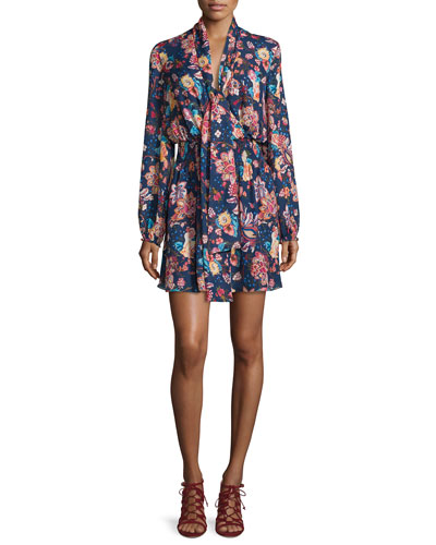 Free Love Floral Silk Mini Dress, San Franciscan Night