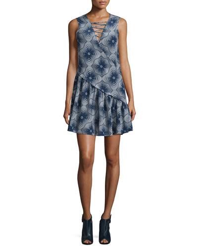 Sleeveless Asymmetric  Medallion Silk Dress, Ink