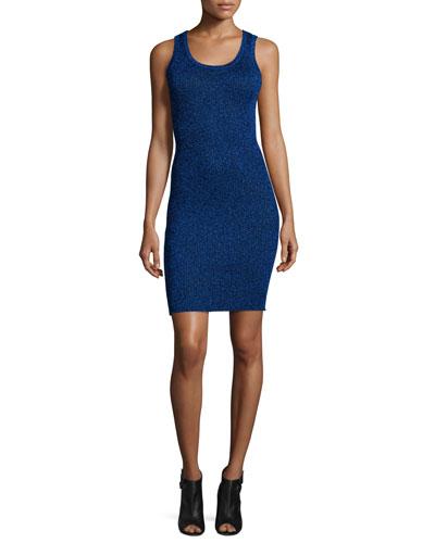 Disco Ribbed Metallic Tank Dress, UV Blue