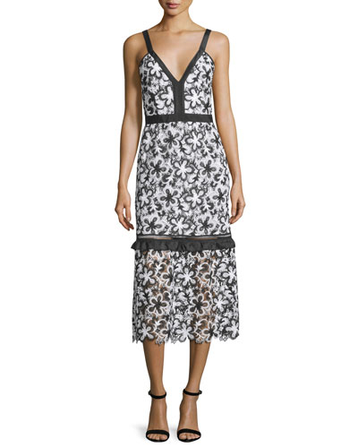 Sleeveless Floral Lace Midi Dress, Black/White