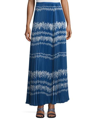 Pleated Flower Spell Maxi Skirt, Cobalt Blue/Cream