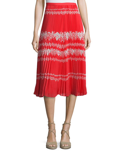 Pleated Flower Spell Midi Skirt, Red/Cream