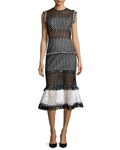 Mag Sleeveless Eyelet Mesh Midi Dress, Black/White