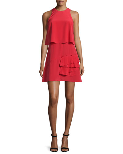 Sophia Sleeveless Silk Popover Dress, Cadmium Red