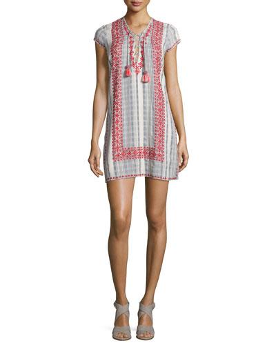 Pinarma Lace-Up Striped Sheath Dress, Coconut
