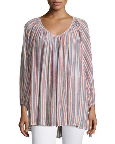 Damaya Bracelet-Sleeve Striped Top, Coconut
