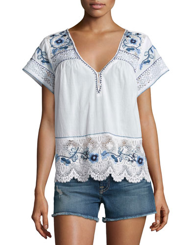 Kerala Lace-Inset Embroidered Top, White