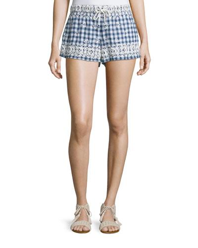 Junia Embroidered Check-Print Shorts, Navy
