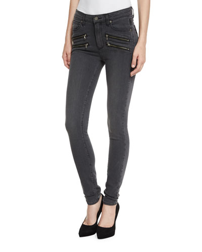 Edgemont Ultra-Skinny High-Rise Jeans, Smoke Gray