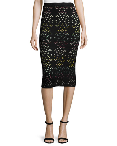 Ani Laser-Cut Multicolor Pencil Skirt