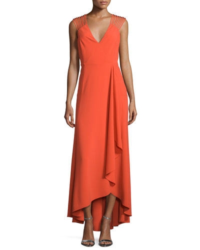 Sleeveless Strappy High-Low Ruffle Dress, Grenadine