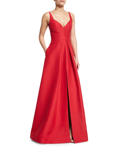Sleeveless V-Neck Structured Gown, Carmine