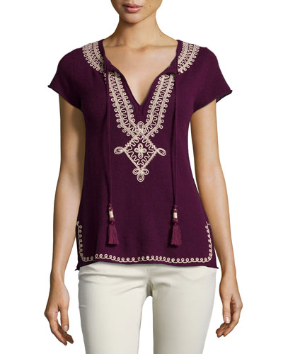 Solney Embroidered Cashmere Sweater, Plum