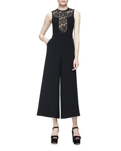 Sleeveless Lace-Trim Crepe Wide-Leg Jumpsuit, Black