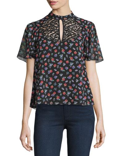 Short-Sleeve Floral Silk Top, Black/Multicolor