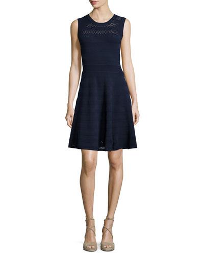 Sleeveless Pointelle Knit Dress, Navy