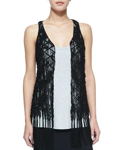 Suede Crochet Vest W/ Fringe