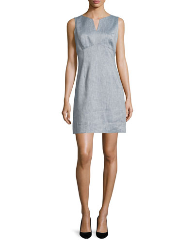 Chambray Twill Mini Sheath Dress, Denim