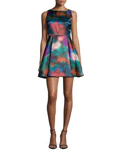 Belia A-Line Watercolor Dress, Multicolor