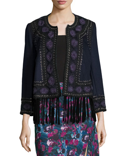 Embroidered Suede-Trim Wool Coat, Midnight