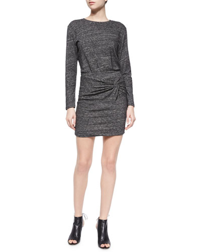 Leticia Wrap-Front Dress, Dark Gray