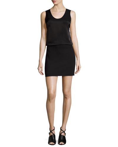 Mixed-Fabric Blouson Dress