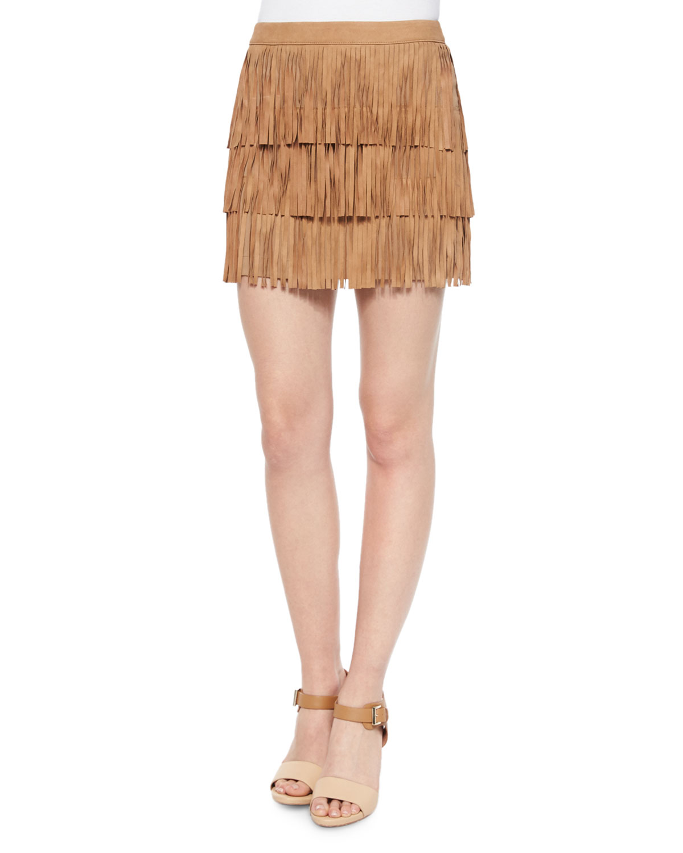 Lavana Tiered Fringe Suede Skirt