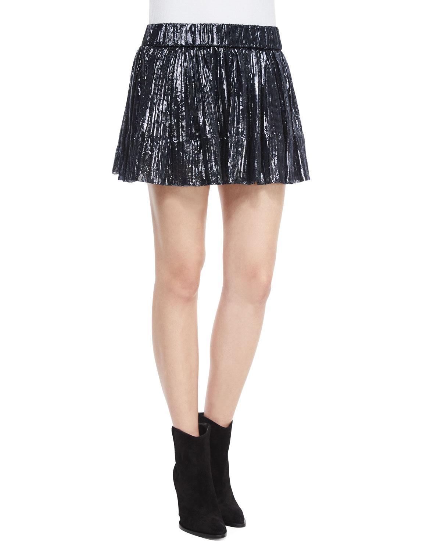 Arny Pleated Metallic Mini Skirt, Navy