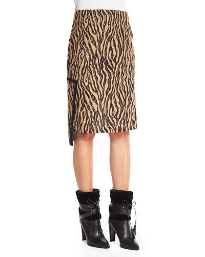 Broken Line Tiger Lace Pencil Skirt, Camel/Black