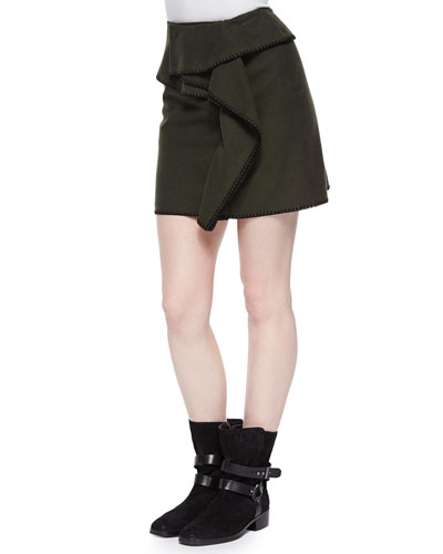 Stitch-Trim Paneled Cotton Skirt