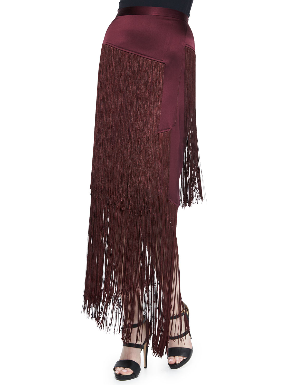 Layered Fringe Silk Skirt, Burgundy