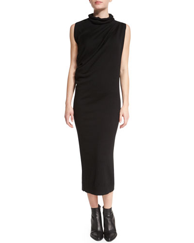 Sleeveless Wool Midi Dress, Black
