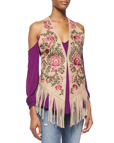 Embroidered Leather Vest with Suede Fringe