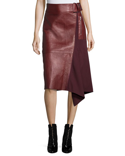 Leather-Wool Flight Detail Skirt, Crimson