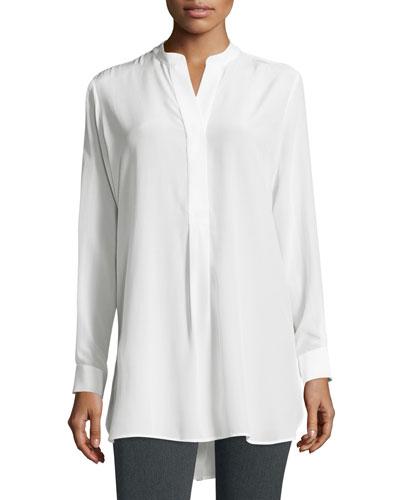 Dara Long-Sleeve Silk Blouse