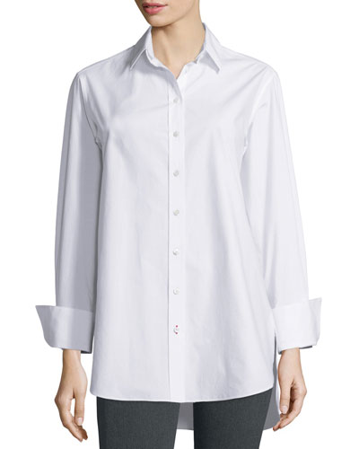 Emile Oversized Button-Front Poplin Blouse, White