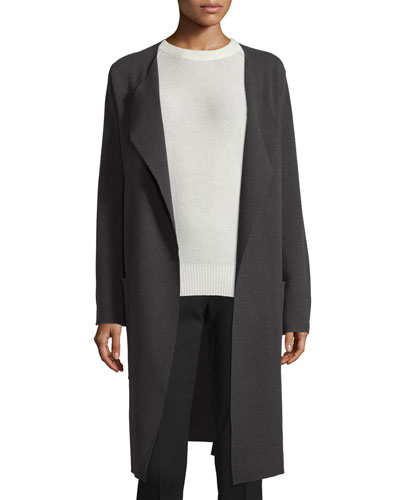 Long Wool Wrap Coat, Gray